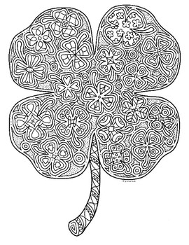 st patrick's day four leaf clover shamrock zentangle coloring page 2