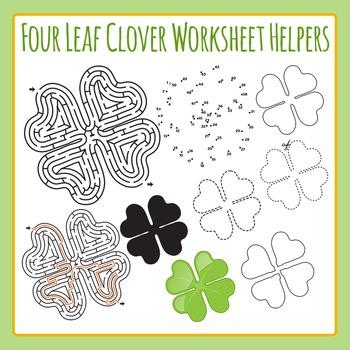 St Patrick's Day Four Leaf Clover Worksheet Helper Clip Art Set Commercial Use