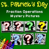 Mystery Picture St. Patrick's Day Fraction Coloring Pages, Activity Worksheets