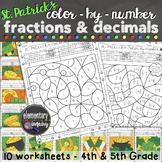 St. Patrick's Day Math Activity Fractions & Decimals Color