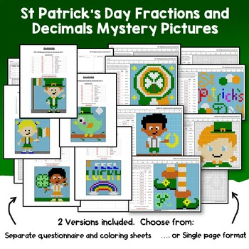 St. Patrick's Day Fractions And Decimals Worksheets, Math Mystery Coloring Pages