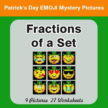 St. Patrick's Day: Fractions of a Set - Color-By-Number Math Mystery Pictures