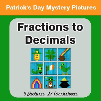 St. Patrick's Day: Fractions to Decimals - Color-By-Number Math Mystery Pictures