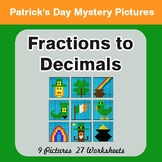 St. Patrick's Day: Fractions to Decimals - Color-By-Number