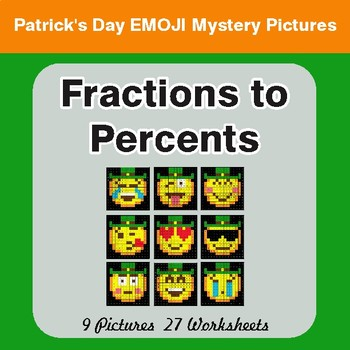 St. Patrick's Day: Fractions to Percents - Color-By-Number Math Mystery Pictures