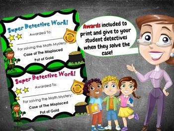 1st Grade St Patrick's Day Math Mystery Activity