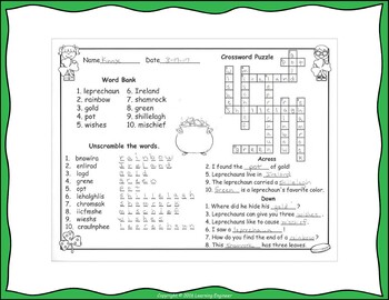 St Patrick's Day Word Work