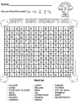 St. Patrick's Day Free Word Search