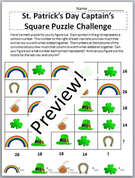 St. Patrick's Day Freebie For Upper Elementary - Math Puzzle