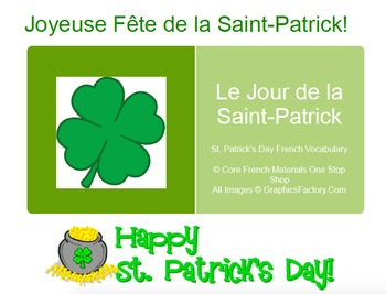 St. Patrick's Day French Vocabulary Flashcards