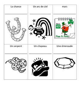 St. Patrick's Day French Vocabulary Printing Page