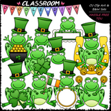 St. Patrick's Day Frogs - Clip Art & B&W Set
