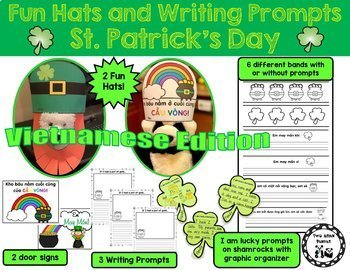 St. Patrick's Day Fun Hats and Writing Prompts *Vietnamese Edition*