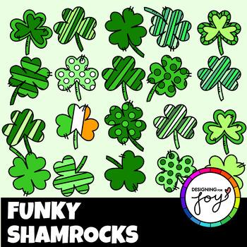 St Patrick's Day Funky Green Shamrocks Clip Art