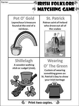 St. Patrick's Day Language Arts Activities: Irish Folklore Vocabulary Card Game