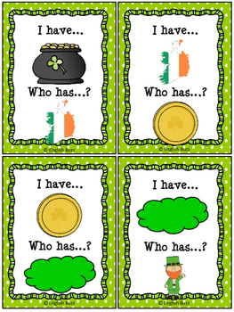"""St. Patrick's Day - Game """"I have... Who has...?"""""""