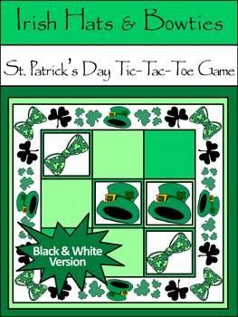 St. Patrick's Day Games: Irish Leprechaun Hats & Bowties Tic-Tac-Toe Game