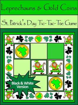 St. Patrick's Day Games: Leprechauns & Gold Coins Tic-Tac-Toe Game Activity -B&W