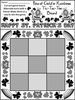 St. Patrick's Day Games: Pots of Gold & Rainbows Tic-Tac-Toe Game Activity - B&W