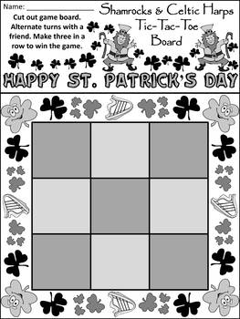 St. Patrick's Day Game: Shamrocks & Celtic Harps Tic-Tac-Toe Game Activity - B&W