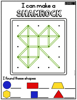 St. Patrick's Day Geoboards Task Cards and Mats