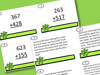St. Patrick's Day Glyph 3 Digit Addition and Subtraction