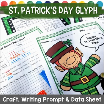 St. Patrick's Day Glyph Leprechaun Survey, Craft, Data Sheet, and Writing Prompt