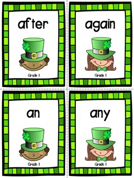 St. Patrick's Day Grade 1 Dolch Sight Word Flashcards
