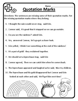 St Patrick's Day Grammar Quotations St. Patrick's Day Quotation Marks  Worksheets