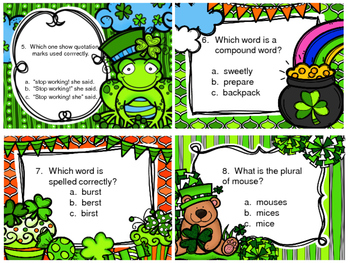 St. Patrick's Day Grammar Scoot Review Using QR Codes
