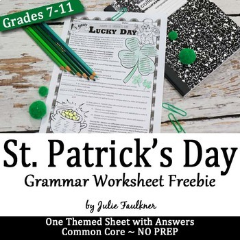 St. Patrick's Day Grammar Worksheet, NO PREP, Middle and High School, FREEBIE