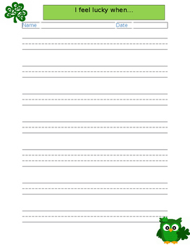 4 Pages St. Patrick's Day Handwriting Paper with Prompts
