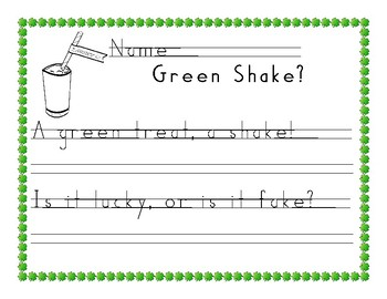 St. Patrick's Day Handwriting  in Handwriting Without Tears Style using 2 Lines