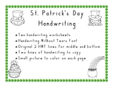 St. Patrick's Day Handwriting  in Handwriting Without Tear