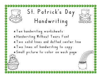 St. Patrick's Day Handwriting  in Handwriting Without Tears Style using 3 Lines