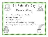 St. Patrick's Day Handwriting  in Zaner Bloser Style