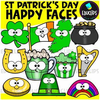 St Patrick's Day Happy Faces Clip Art Bundle {Educlips Clipart}