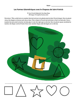 St. Patrick's Day Hat with French Shapes Activity