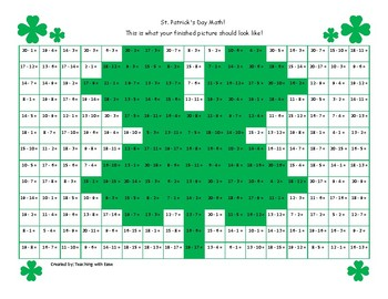 St. Patrick's Day Hidden Picture Math: Subtraction to 20