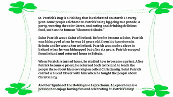 St. Patrick's Day History and Coloring Packet