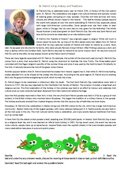 St. Patrick's Day History and Traditions - Reading Comprehension