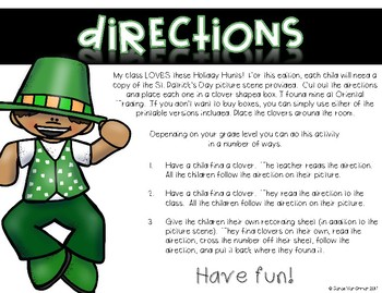 St. Patrick's Day Holiday Hunt ~ Listening and Following Directions