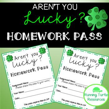 FREE St. Patrick's Day Homework Pass