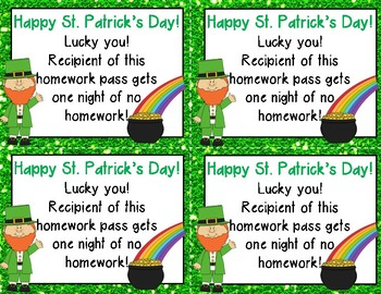 St. Patrick's Day Homework Pass *FREEBIE*