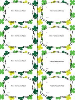 Editable St. Patrick's Day Homework Passes