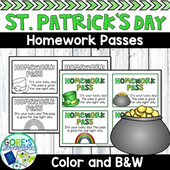 St. Patrick's Day / March Homework Passes - Color and Black & White