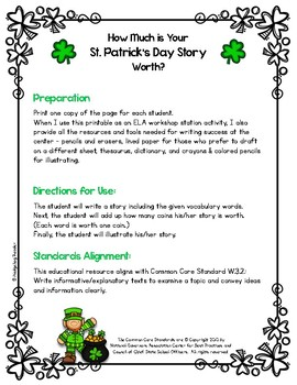 How Much is Your St. Patrick's Day Story Worth? - No Prep