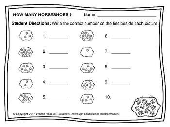 St. Patrick's Day Horseshoe Number Match Up Math Center