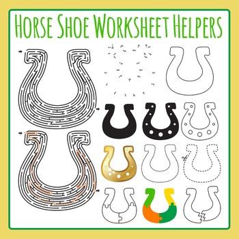 St Patrick's Day Horseshoe Worksheet Helper Clip Art Set f