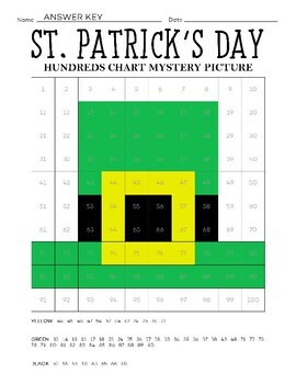 FREEBIE St. Patrick's Day Hundreds Chart Coloring Page